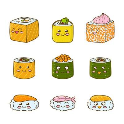 Adesivo Set di divertente sushi e panini