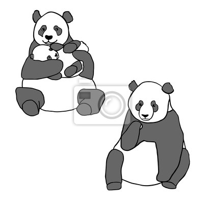 Adesivo Set di due panda carino e cucciolo. disegnati a mano illustrazioni vettoriali isolato su bianco. Panda madre sveglia con il bambino piccolo e Panda seduta