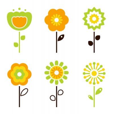 Adesivo Set di elementi floreali retrò per Pasqua / primavera
