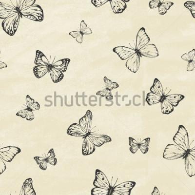 Adesivo Set di farfalle disegnate a mano. Collezione entomologica di farfalle disegnata a mano altamente dettagliata. Stile vintage retrò Modello senza soluzione di continuità Illustrazione vettoriale
