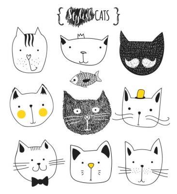 Adesivo Set di gatti cute doodle. cat Sketch. Cat Sketch. Cat mano. T-shirt stampate per il gatto. Stampa per i vestiti. Bambini Doodle animali. gatti muso elegante. gatto isolato. Animale domestico