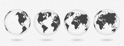 Adesivo Set di globi di terra trasparenti. Mappa del mondo realistico a forma di globo con trama trasparente e ombra