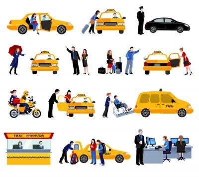 Adesivo Set Di Icone servizio taxi