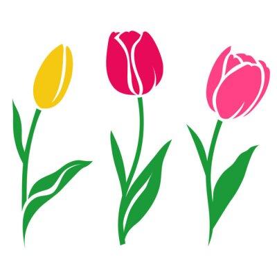 Adesivo Set di siluette colorate del tulipano. Illustrazione vettoriale. Raccolta di fiori decorativi