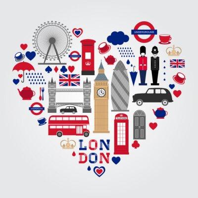 Adesivo Set di simboli di Londra Hearth. Raccolta di icone britanniche.