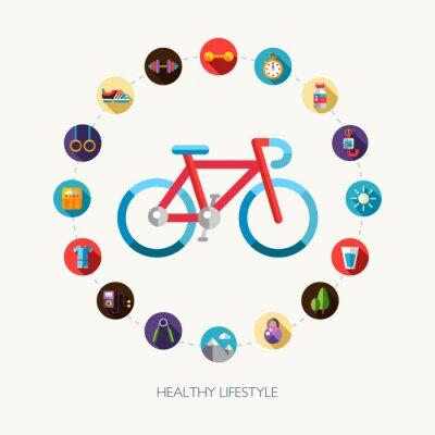 Adesivo Set di sport design piatto, fitness e icone stile di vita sano