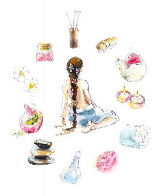 Adesivo Set for SPA salon. Watercolor hand drawn illustration.