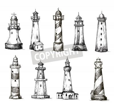 Adesivo set of cartoon lighthouses