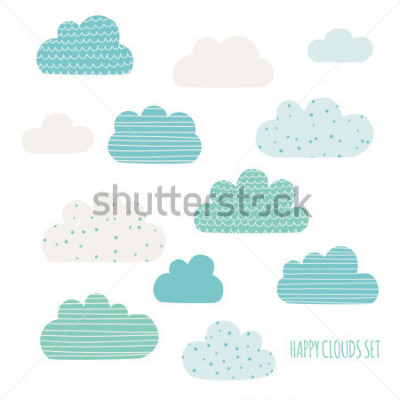 Adesivo Set of cute clouds. Design for kids. Vector illustration