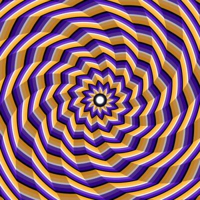 Adesivo Sfaccettato torsione a spirale al centro. Abstract vettore illusione ottica di fondo.