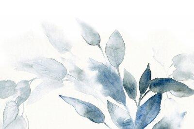 Adesivo sfondo acquerello con foglie