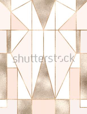 Adesivo Sfondo Art Deco con forme geometriche glitter oro, triangoli, rettangoli, linee, quadrati.