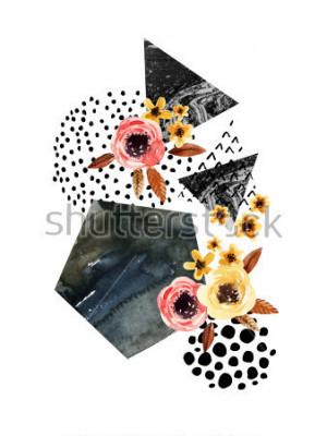 Adesivo Sfondo autunnale: foglie che cadono, fiori, elementi geometrici. Illustrazione dell'acquerello con foglia, triangoli, marmo, colore dell'acqua, texture scribble per design autunno. Acquerello