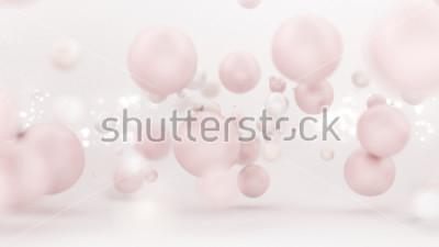 Adesivo Sfondo bianco brillante con palloncini. Illustrazione 3d, rendering 3d.