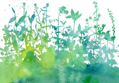 Adesivo Sfondo con disegno di erbe e fiori