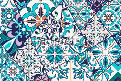 Adesivo Sfondo decorativo vettoriale. Motivo patchwork mosaico per design e moda. Piastrelle portoghesi, Azulejo, ornamenti marocchini