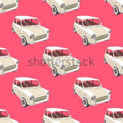 Adesivo Sfondo di automobili. Vettore di auto retrò