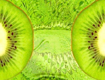 Adesivo Sfondo di cibo con le fette di kiwi verde.