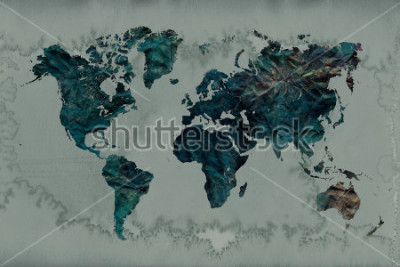 Adesivo sfondo di mappa del mondo vintage