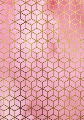 Adesivo Sfondo di marmo di acquerello con motivo geometrico cubo.