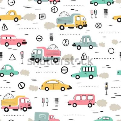 Adesivo Sfondo di trasporto dei cartoni animati per bambini. Reticolo senza giunte con Doodle Toy Cars e segnali stradali