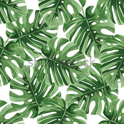 Adesivo Sfondo estivo. Foglie di palma tropicali, modello floreale di vettore senza cuciture della giungla.
