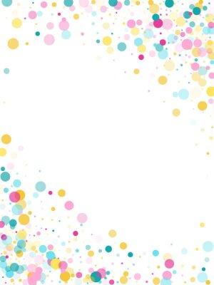 Adesivo Sfondo festivo di coriandoli rotondi di Memphis in ciano blu, rosa e giallo. Vettore modello infantile.