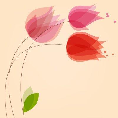 Adesivo Sfondo floreale con tulipani