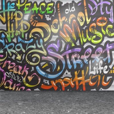 Adesivo Sfondo muro di graffiti