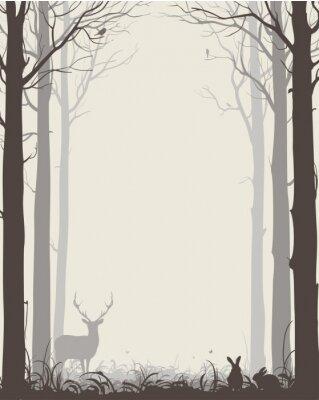 Adesivo sfondo naturale con sagome di alberi e animali