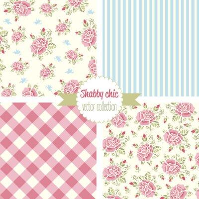 Adesivo Shabby Chic Patterns Rose. Set seamless. motivo floreale Vintage, sfondi. illustrazione di vettore