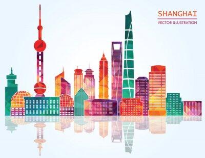 Adesivo Shanghai skyline dettagliate. illustrazione vettoriale