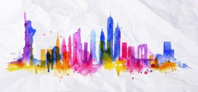 Adesivo Silhouette città overlay New york