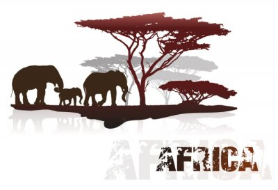 Adesivo Silhouette di alberi in Africa ed elefanti