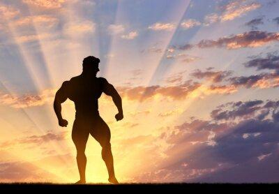Adesivo Silhouette di bodybuilder pone al tramonto