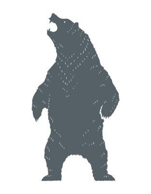 Adesivo Silhouette di orso ruggente