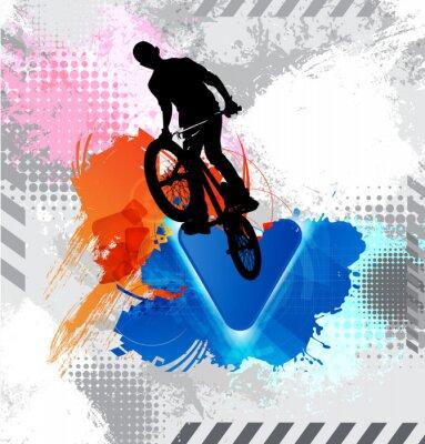 Adesivo Silhouette di un ciclista.