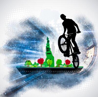 Adesivo Silhouette di un ciclista