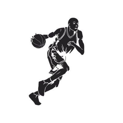 Adesivo Silhouette di un giocatore di basket dribbling la palla