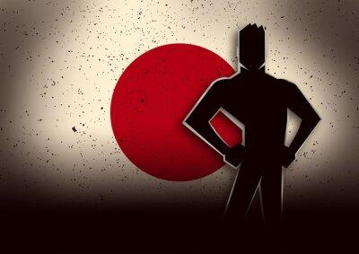 Adesivo Silhouette Illustrazione di un uomo in piedi anteriore del Giappone Bandiera