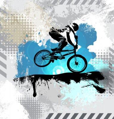 Adesivo Siluetta di un cavaliere della bicicletta, vettore
