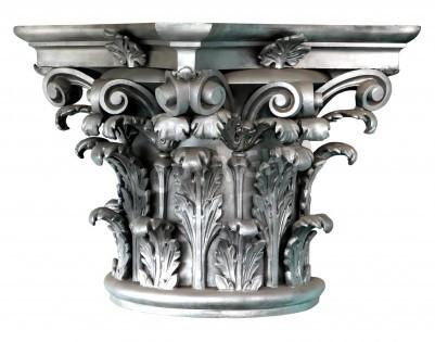 Adesivo Silver Corinthian order columns on the white background