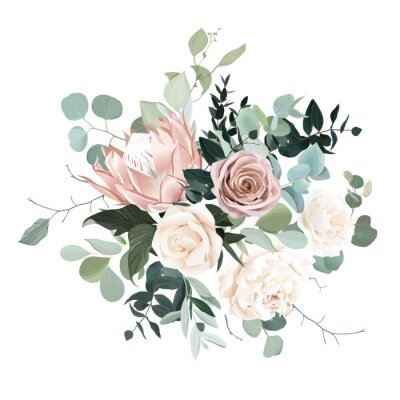 Adesivo Silver sage and blush pink flowers vector design bouquet.