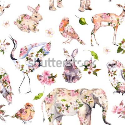Adesivo Simpatici animali in fiori di primavera rosa. Motivo floreale senza soluzione di continuità Acquerello femminile e femminile