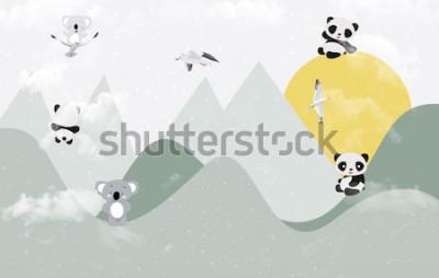 Adesivo Simpatici koala e panda che giocano in montagna
