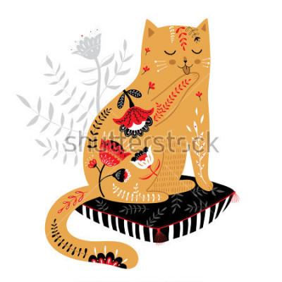 Adesivo simpatico gatto disegnato a mano