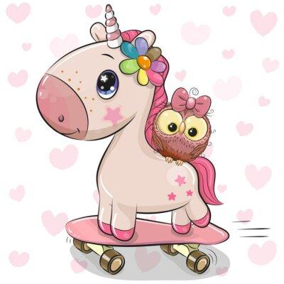Adesivo Simpatico Unicorno con gufo su uno skateboard
