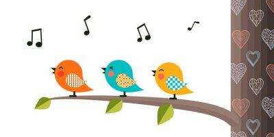 Adesivo Singing Birds on a branch.