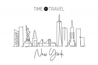 Adesivo Single continuous line drawing of New York city skyline, USA. Famous city scraper and landscape. World travel concept home wall decor poster print art. Modern one line draw design vector illustration
