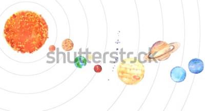 Adesivo Sistema solare dell'acquerello. Sole e pianeti (Mercurio, Venere, Terra, Marte, Giove, Saturno, Urano, Nettuno) su sfondo bianco.